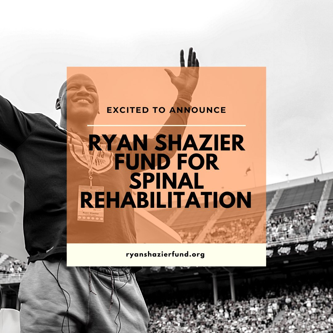 I'm truly excited to announce the Ryan Shazier Fund for Spinal Rehabilitation. My team and I have been workingbehind the scenes to find ways to continue to push forward progress for the spinal cord community. One step at a time we will change how people view spinal injuries.