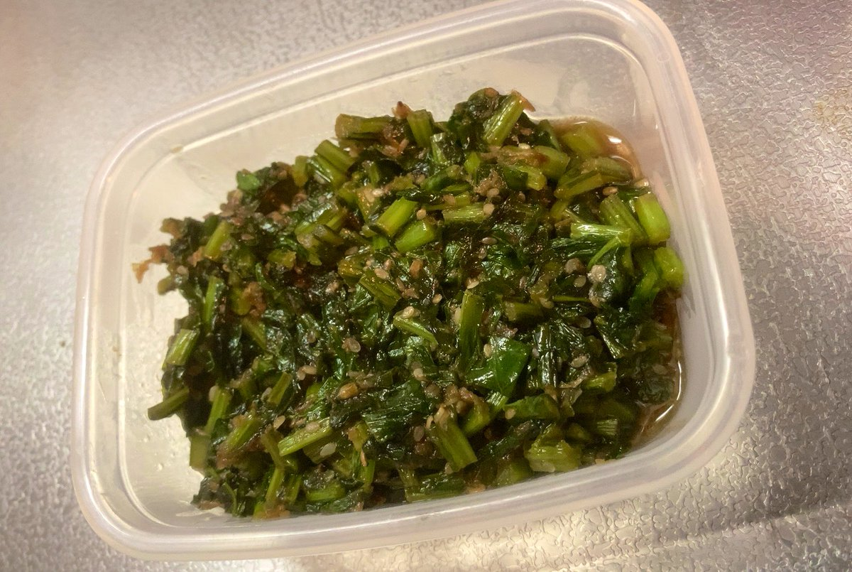 そしてカブのスープを作った時の副産物的なカブの葉のごま油炒め的なやつ🌿カブや大根は葉っぱ付きだとお得感ありますよね😊レシピはこれです🍳
