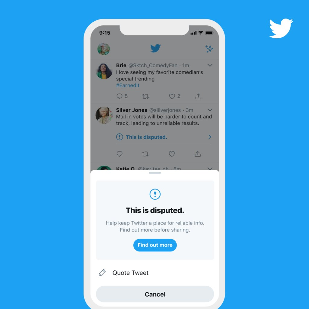 "The app version of the prompt. Its headline reads, ""This is disputed"". Below that is a line that reads, ""Help keep Twitter a safe place for reliable info. Find out more before sharing"" and a ""Find out more"" button."