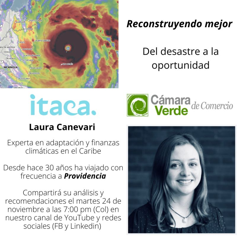 Mañana estaremos reflexionando con la @CamaraVerdeOrg sobre experiencias del #Caribe que informen la reconstrucción de #Providencia trás el paso desastrozo del #huracanlota Acompáñanos! #resilience #HurricaneIota #climatechange
