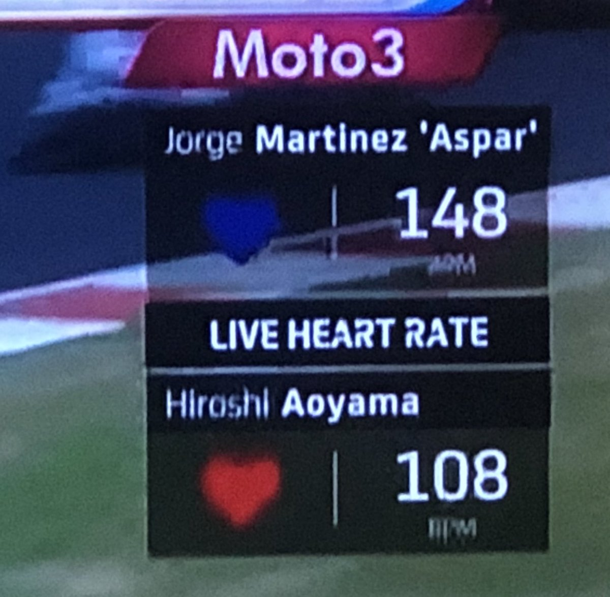 とうとうチーム監督同士の心拍数並べるようになったのね、おもろいぞドルナ。来シーズンから監督へのテレメトリシステム装着義務とか言いそう #motogp