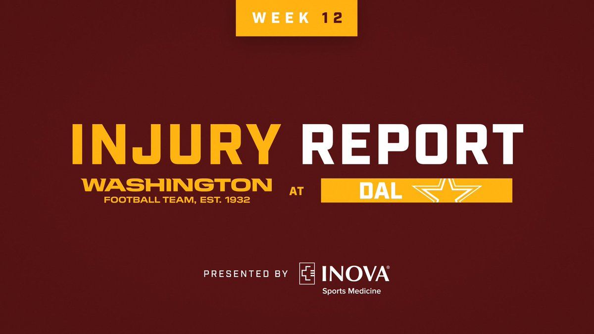 #WASvsDAL injury report   📋 https://t.co/PdPBWwMGZx | @InovaHealth https://t.co/IdW2ZonnGB