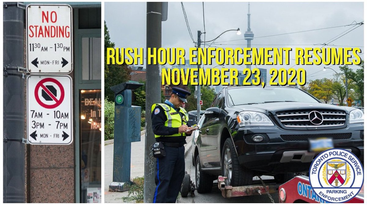 Just a reminder that enforcement of #RushHourTO routes returns today. @ParkingTPS understands that @cityoftoronto is in lockdown & encourage curb side pick up & delivery drivers to park legally. Discretion will be utilized but tagging & towing will resume to keep traffic moving.
