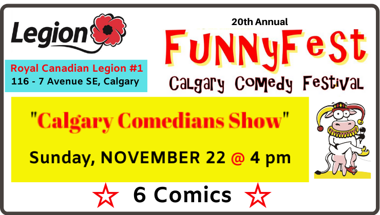 #yyc #Calgary #GIFT of #LAUGHTER all #Veterans, #military & 1st #responders. In #honour of #service, #hero's #receive 2 #FREE #tickets ($40) see live #shows 20th Annual #FunnyFest Calgary #Comedy #Festival (until Nov. 29). Investment by @XimenMiningCorp