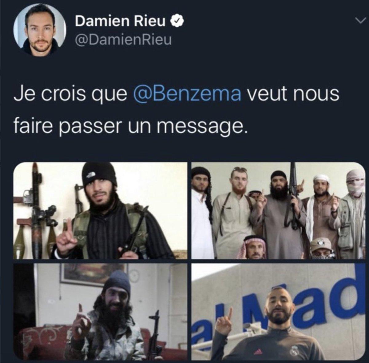 Bonsoir @EmmanuelMacron  @GDarmanin  Le militant d'extrême droite multirécidiviste Damien Lefèvre alimente la haine, son dernier tweet assimile Karim Benzema à un terroriste. Faut il attendre un nouveau drame pour réagir ?#justicepourtous
