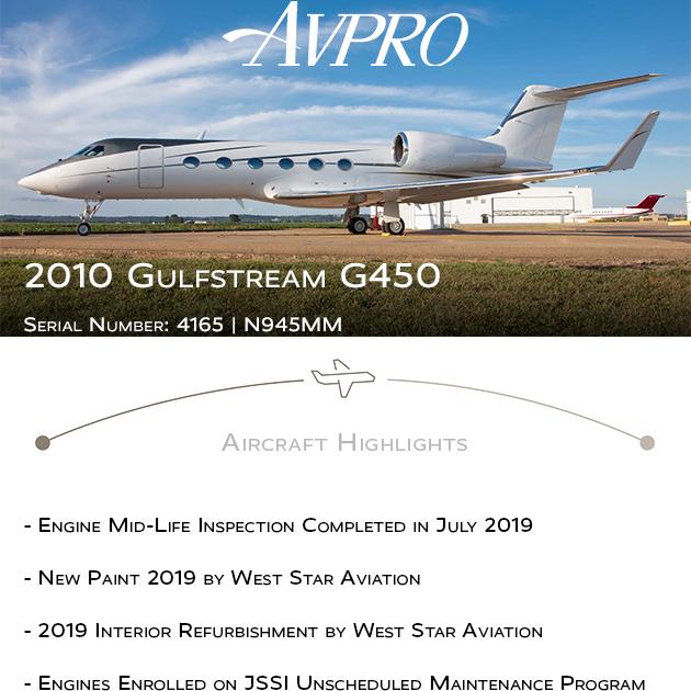 New to market - 2010 #Gulfstream #G450 at @AvproJets  New paint 2019 2019 interior refurbishment More details at: https://t.co/PfOf9ngqDU  #bizjet #bizav #aircraftforsale #privatejet #privateflying #jetforsale #businessaviation