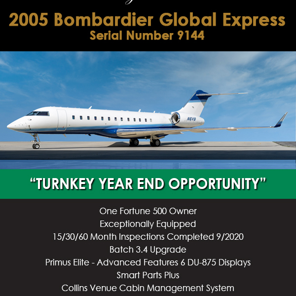 Turnkey year end opportunity - 2005 #Bombardier #Global #Express at Welsch Aviation Exceptionally equipped Batch 3.4 upgrade More details at: https://t.co/uxkVtU4Uf3  #bizjet #bizav #aircraftforsale #privatejet #privateflying #jetforsale #businessaviation
