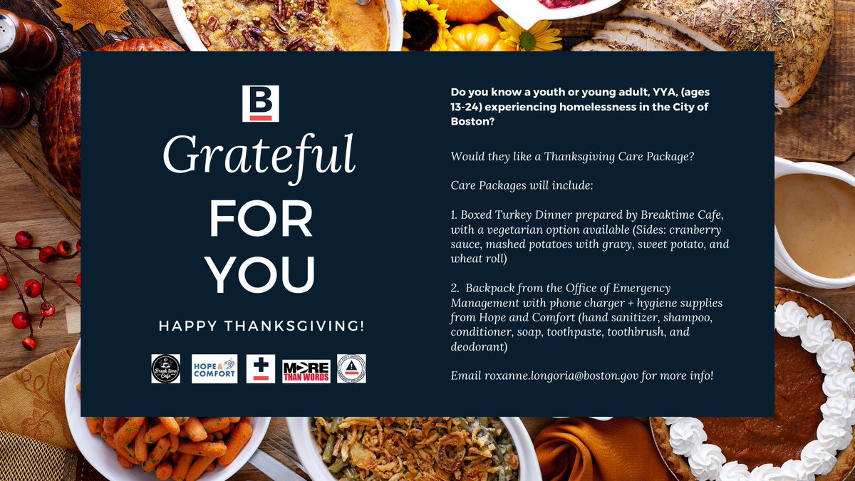 The @CityofBoston has partnered with @HopeandComfort1, @breaktimeboston and @mtwyouth to provide Thanksgiving care packages for youth and young adults experiencing homelessness during #COVID19. https://t.co/bVtFllMdhJ