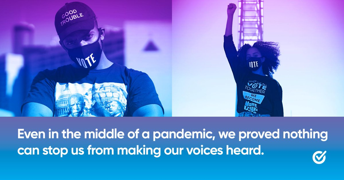 THREAD (5/5): We witnessed millions of Americans wield the power of their vote to enact meaningful change in their communities.   Be a part of our movement to change the culture around voting 365 days a year →