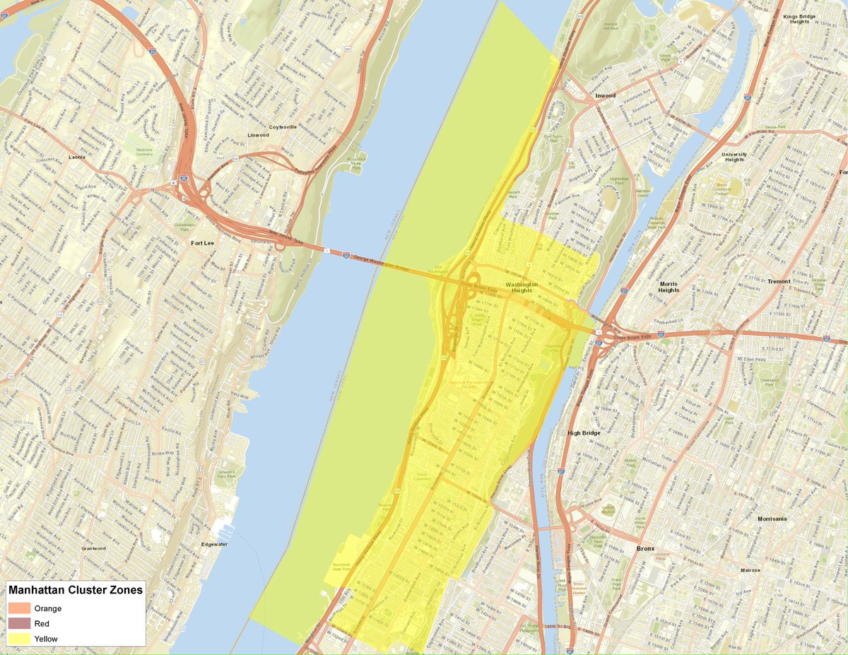 Here is the map for the Manhattan (New York County) cluster.  The cluster is a Yellow Zone.