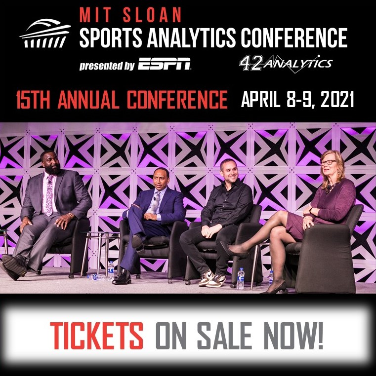Tickets for the 15th Annual MIT Sloan Sports Analytics Conference are ON SALE NOW!  https://t.co/VGX2EPGG1Z  This year's conference will be virtual on April 8-9, 2021 @ESPN #SSAC21 https://t.co/bfuhNiqDHy