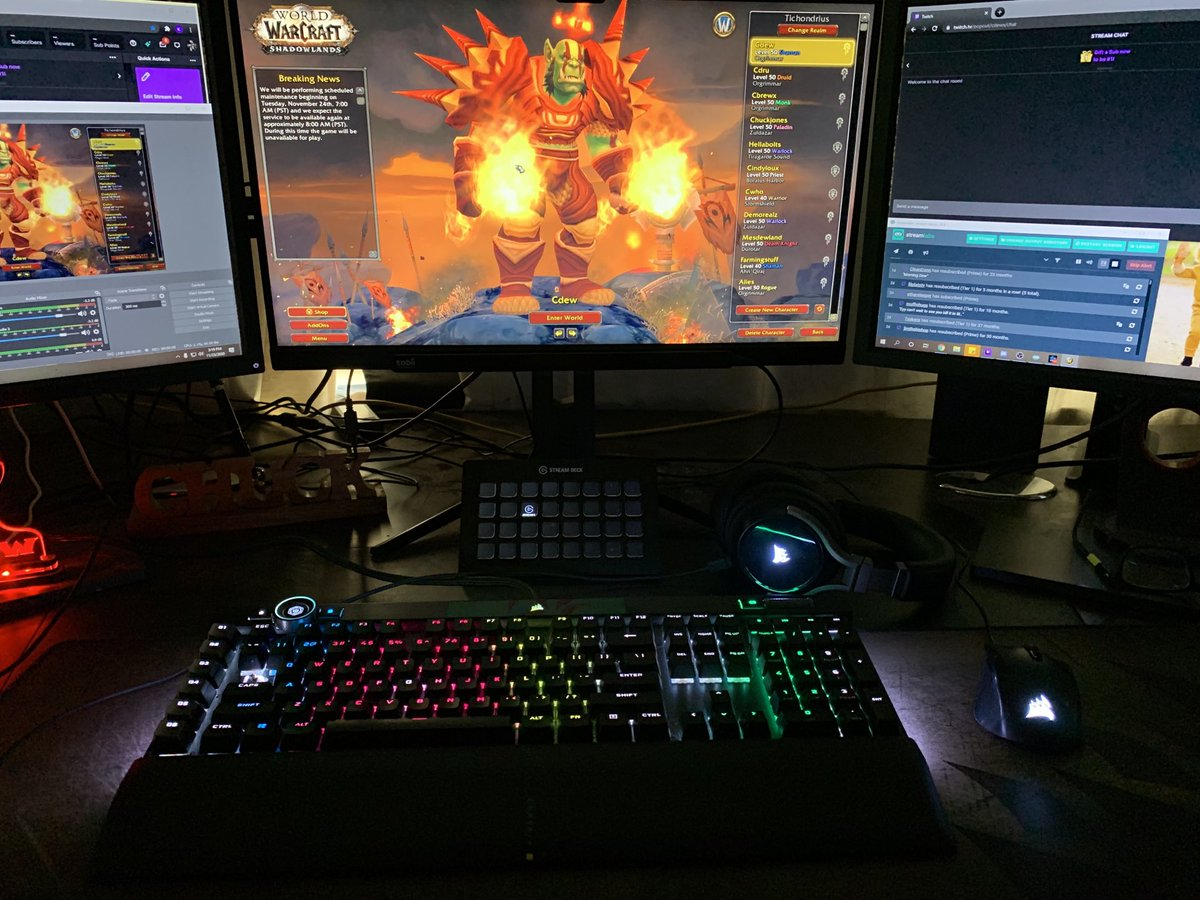 """Cdew - Xmog ready, bags cleaned, quest log empty and most importantly @corsair gear ready to be pushed to the limit this week. K100 know, virtuoso headset, and harpoon mouse. If you're interested in new peripherals for slands make sure to check these out. Code """"cdew"""" at checkout #ad"""