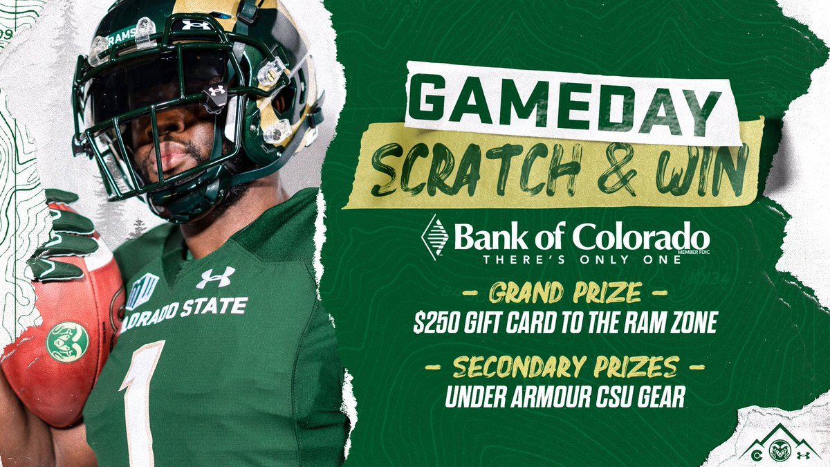 𝐒𝐂𝐑𝐀𝐓𝐂𝐇 & 𝐖𝐈𝐍! Play our Game-Day Scratch & Win 𝙉𝙊𝙒 for the chance to score: 🟢$𝟮𝟱𝟬 𝗥𝗮𝗺 𝗭𝗼𝗻𝗲 𝗚𝗶𝗳𝘁 𝗖𝗮𝗿𝗱 🟢𝗨𝗻𝗱𝗲𝗿 𝗔𝗿𝗺𝗼𝘂𝗿 𝗚𝗲𝗮𝗿 🎮 𝗣𝗹𝗮𝘆 𝗡𝗼𝘄: csura.ms/3lTIRqx @bankofcolorado | #CSURams