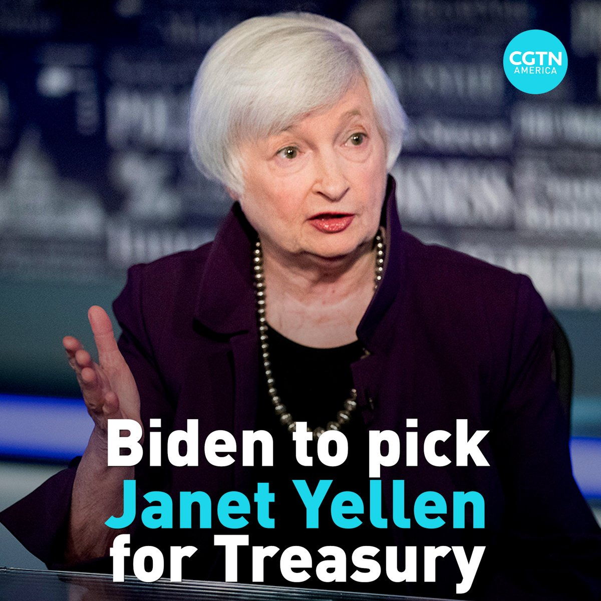 Joe Biden will nominate former Federal Reserve chair Janet Yellen as next U.S. Treasury secretary. Yellen will be the first woman to hold this position if confirmed.