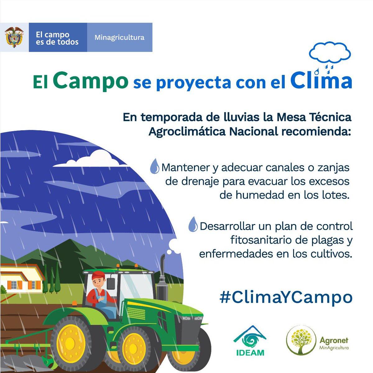 En #TemporadaDeLluvias invitamos a los productores a consultar las recomendaciones de las Mesas Técnicas Agroclimáticas en el Boletín Agroclimático Nacional y los Boletines Agroclimáticos Regionales.   https://t.co/61DYQpuHbH    https://t.co/YKjfkqCi0o  #ClimayCampo https://t.co/LAr8CpPTpF