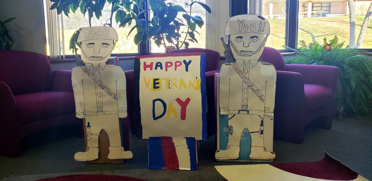 """Division of Youth Services' youth observed Veterans Day and celebrated people close to them by making """"thank you"""" decorations for three of their staff members who served in the military. #VeteransDay2020"""