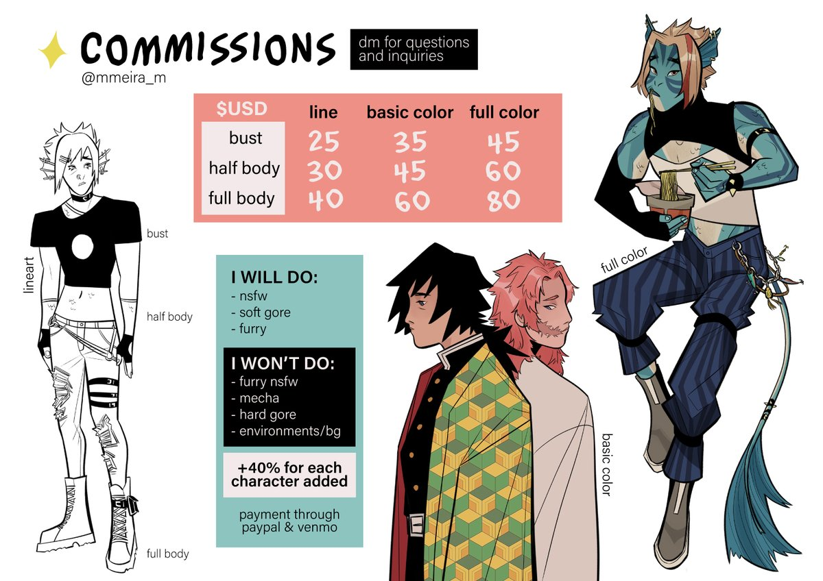 so im opening commissions for the first time in forever! 🌱 dm about any questions and inquiries 🍃 payment through paypal or venmo RTs are very much appreciated!! #commissionsopen