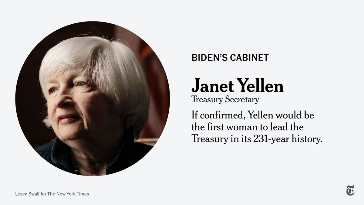 Janet Yellen, who was the first female Fed chair, is likely to bring to the Treasury a long-held preference for giving government help to struggling households, and for slightly tighter financial regulation, as she navigates the economic crisis. https://t.co/IMRu2NmvhI https://t.co/7cucRFaBDV