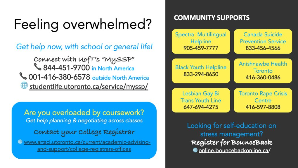 #UofT students: Feeling overwhelmed? You are not alone! Please reach out, because your community wants to help you. ❤️