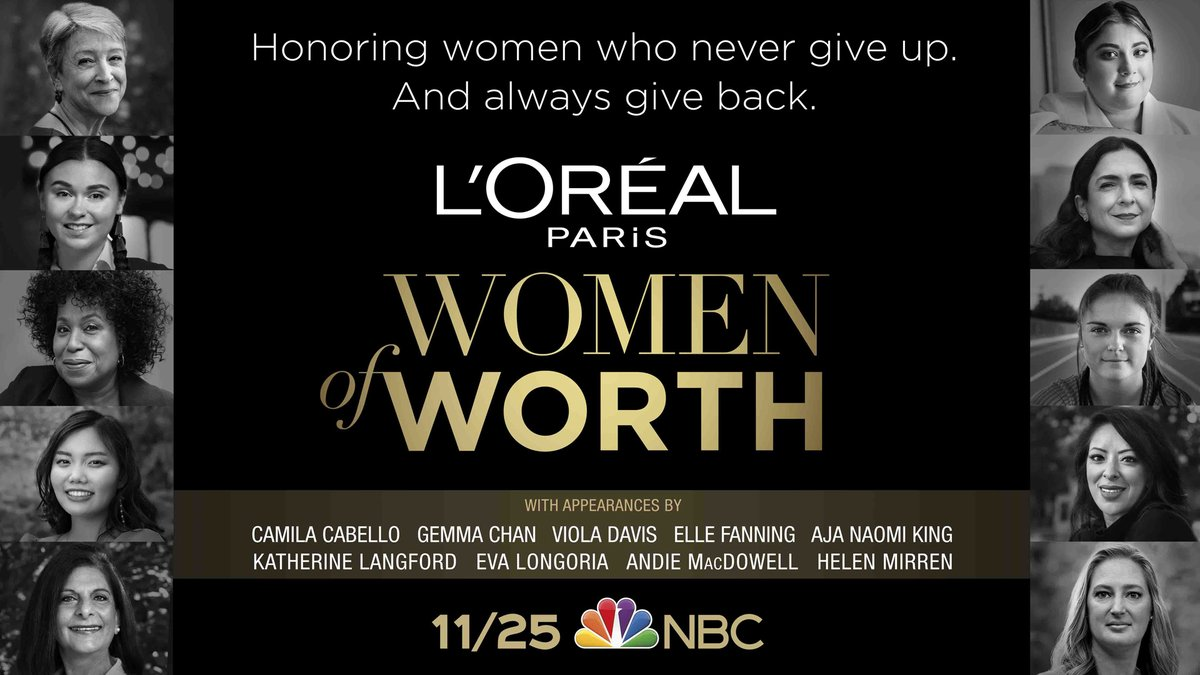 This Wednesday at 8 PM ET/PT, join us as we celebrate ten exceptional women who never give up and always give back, in our very first #LOrealWomenofWorth special on @NBC.  Streaming will be available to U.S. audiences through NBCUniversal's streaming service, @PeacockTV