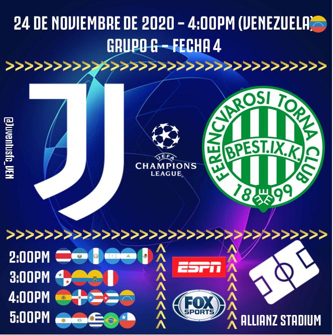 ⚽️ #JUVENTUS 🆚 #Ferencvaros 🏟 #AllianzStadium 🇮🇹 🗓 24-11-2020, 4:00pm (🇻🇪) 🏆 Grupo G de #UCL 📺 ESPN y FOX SPORTS 💻📱 Streaming #JuveFerencvaros https://t.co/QDeu0dPZ6R