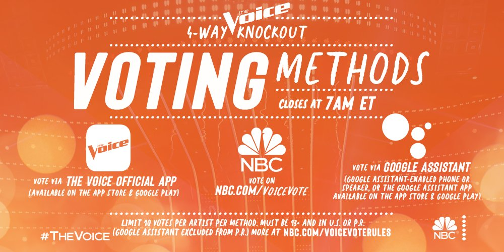 Replying to @NBCTheVoice: 🚨 There's only 1 HOUR LEFT to vote in #TheVoice 4-way Knockout! 🚨