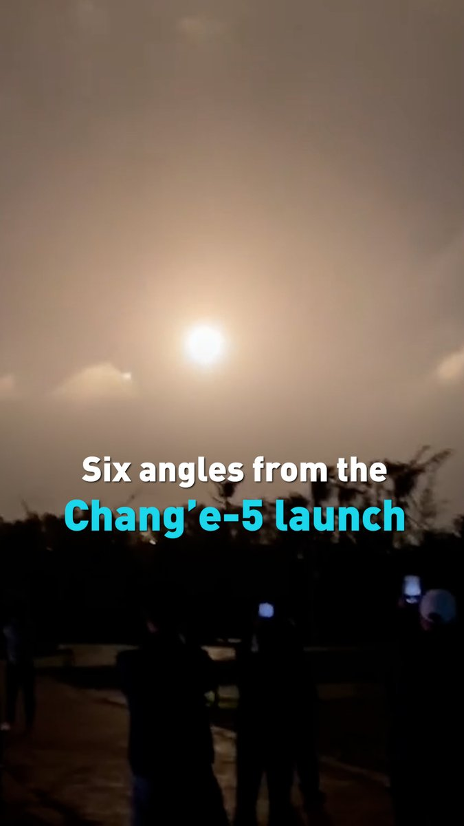 The latest rocket carrying the Chang'e-5 lunar probe, successfully lifted off, on a new mission to gather samples from the moon. Take a look at some different angles of the launch, from near the Wenchang Spacecraft Launch Site to citizens on a nearby beach.
