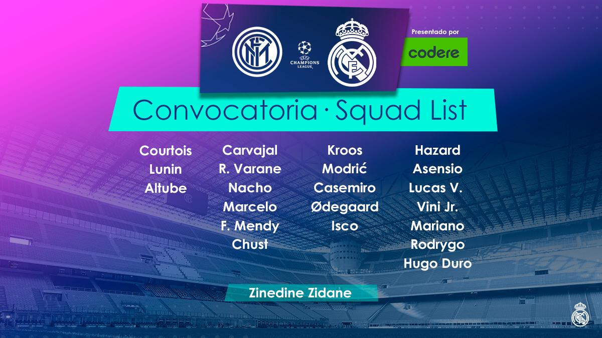 📋✅ ¡Estos son los 21 jugadores convocados para enfrentarnos al @Inter_es! @CodereApuestas | #RMUCL