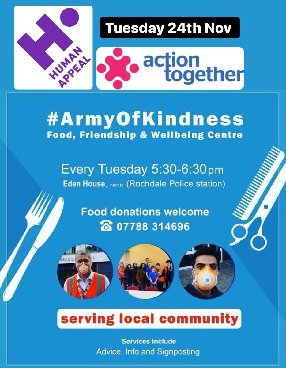 #ArmyOfKindness hot food available serving the most needy in Rochdale Every Tuesdays 5:30-6:30pm at Eden House (former Old Magistrates Building)   Takeouts only available 📦   Masks must be worn 😷  Social Distancing ⬅️2m➡️ #homeless #TogetherStronger
