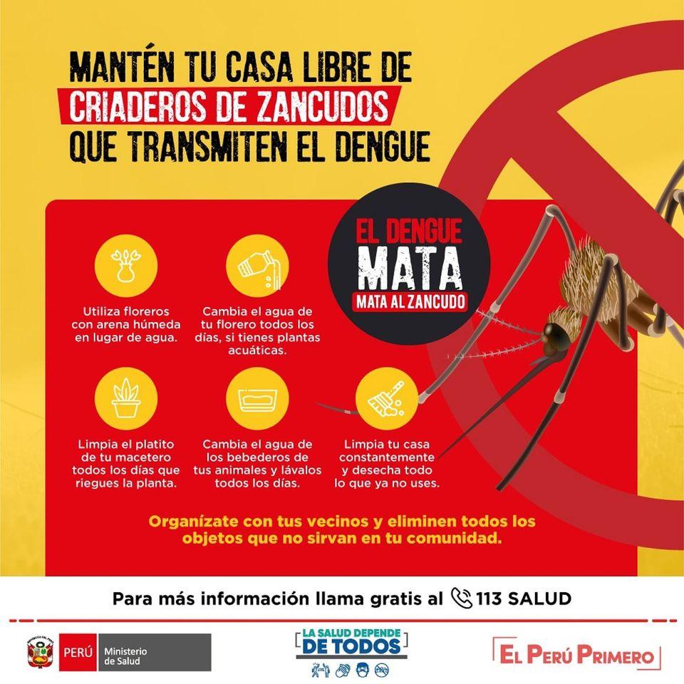 #ElDengueMata🚫 | Cumple las siguientes recomendaciones para mantener tu casa libre de criaderos de zancudos. 🦟🦟  Prevenir el dengue depende de todos.  Fuente: @Minsa_Peru    #dengue #criaderosdezancudos #Minsa #pandemia #Peru https://t.co/wToOqeYpBu