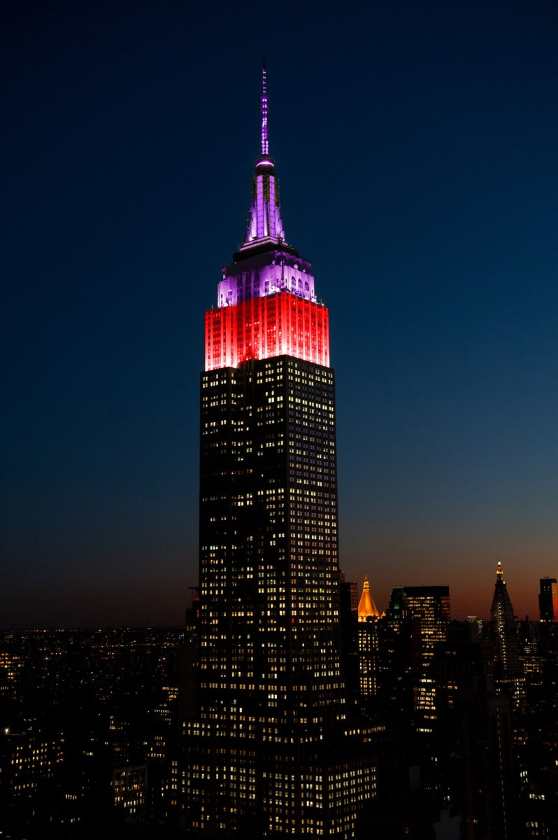 "Lighting up the night in purple & red, to honor @LupusResearch & their ""Breaking Through"" Virtual Gala.   The Lupus Research Alliance helps fund innovative lupus research, leading to key discoveries that are improving diagnosis & therapies. #ESBright"