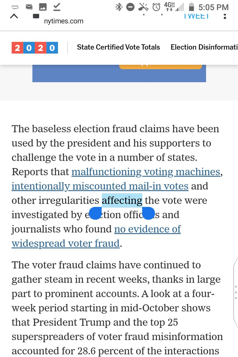 """@sheeraf @nytimes This sentence is ungrammatical because """"affecting"""" should be """"affected"""":  Reports that malfunctioning voting machines . . . and other irregularities affecting the vote were investigated by election officials and journalists who found no evidence of widespread voter fraud. https://t.co/xtShJUOl3e"""