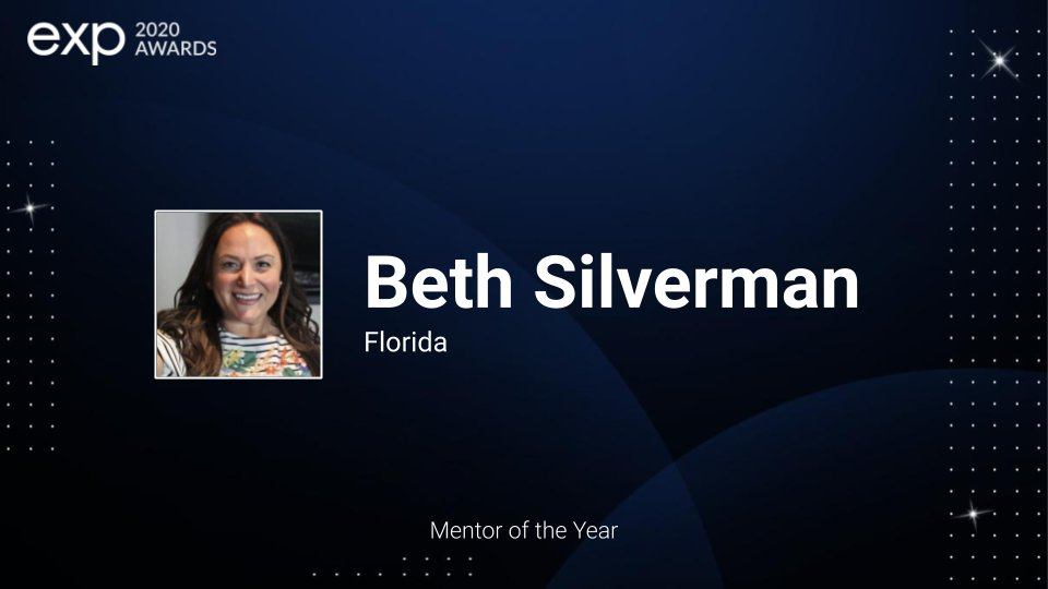 Congratulations to eXp's Mentor of the Year Award Recipient Beth Silverman. Beth is dedicated to eXp and has spent countless hours serving eXp's mentors and mentees. - https://t.co/3SFBXuksGV #eXpProud https://t.co/C1CHoec7r7