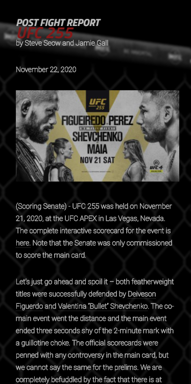 Thank you Distinguished Senator @UncleCreepyMMA #UFC255  Read the post fight report for #UFC255 is out: