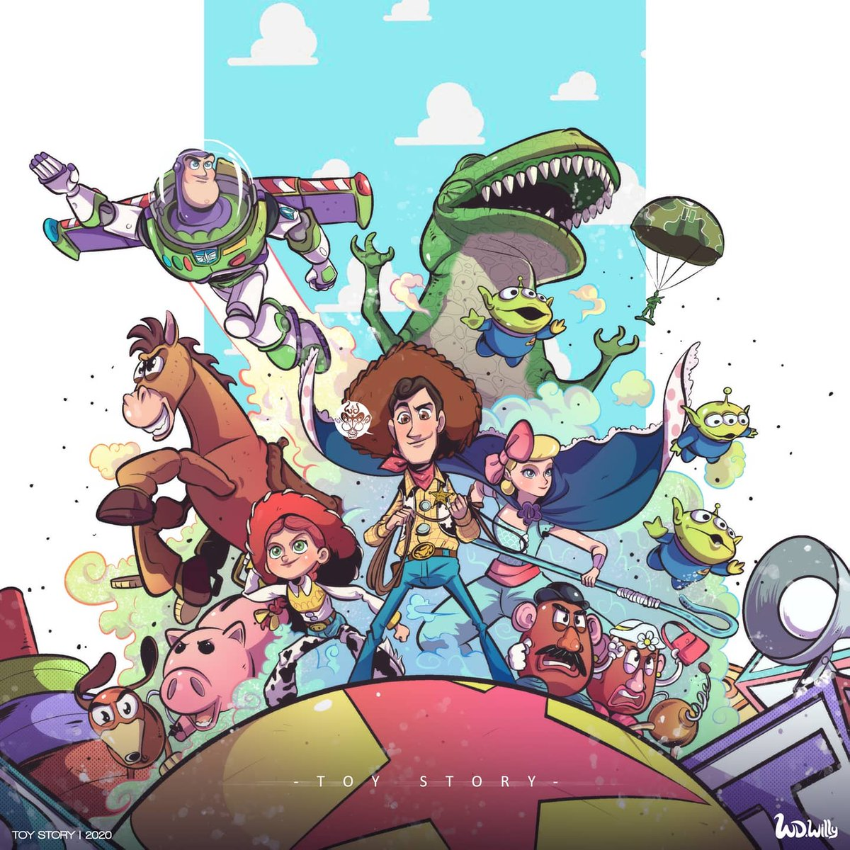 Happy 25th Anniversary to Toy Story. 💫  . *Tepatnya si kemarin 23 Nov, cuman baru kelar di finishing gambarnya. 😁 Btw, ini salah satu Film yang bikin aku pengen koleksi banyak toys ✨✨ . @toystory @Pixar #toystory #ToyStory25 #toystorycollection #Woody #buzzlightyear