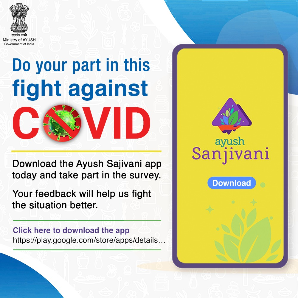 Let's join hands and work towards enhancing our immunity amidst the Covid 19 crisis to protect ourselves from the virus.  The #AyushSanjivani app developed by the Ministry of AYUSH helps generate data on acceptance and usage of Ayush advocacies and its impact on the prevention