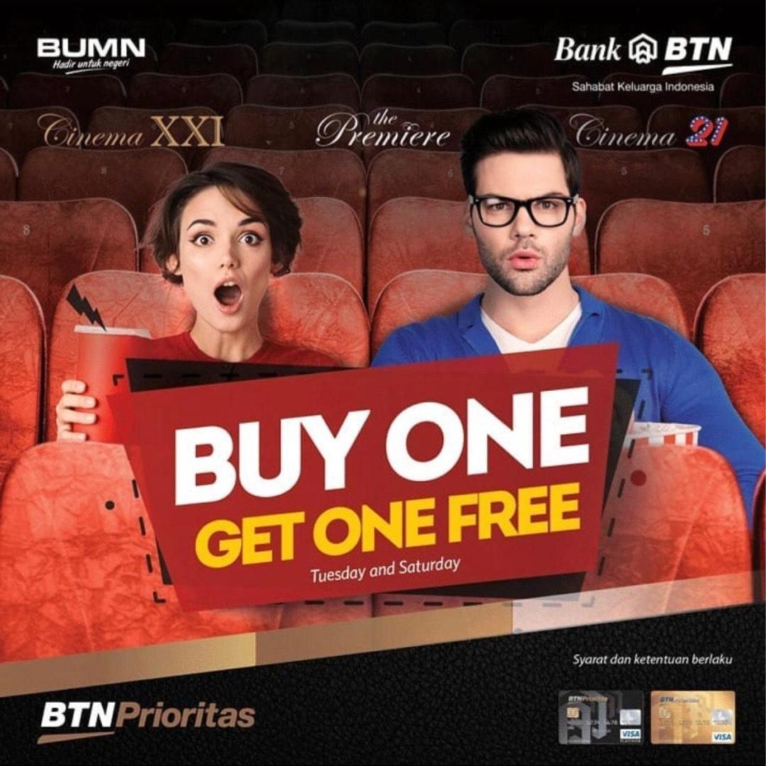 Hari Selasa saatnya Buy 1 Get 1 Free dengan BTN Prioritas! Geser slide kedua untuk tahu lokasinya yaa, Sobat XXI. Info lengkapnya silakan cek di   #XXIPromo