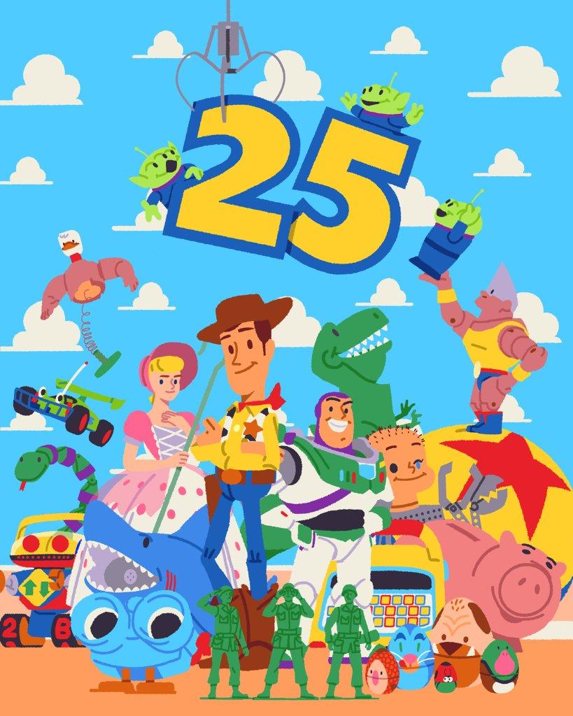 Pixar kongsikan poster #ToyStory25 bersempena ulang tahun ke 25 filem tersebut, menampilkan karakter-karakter asal mereka.  Berapa umur korang masa #ToyStory pertama ditayangkan?
