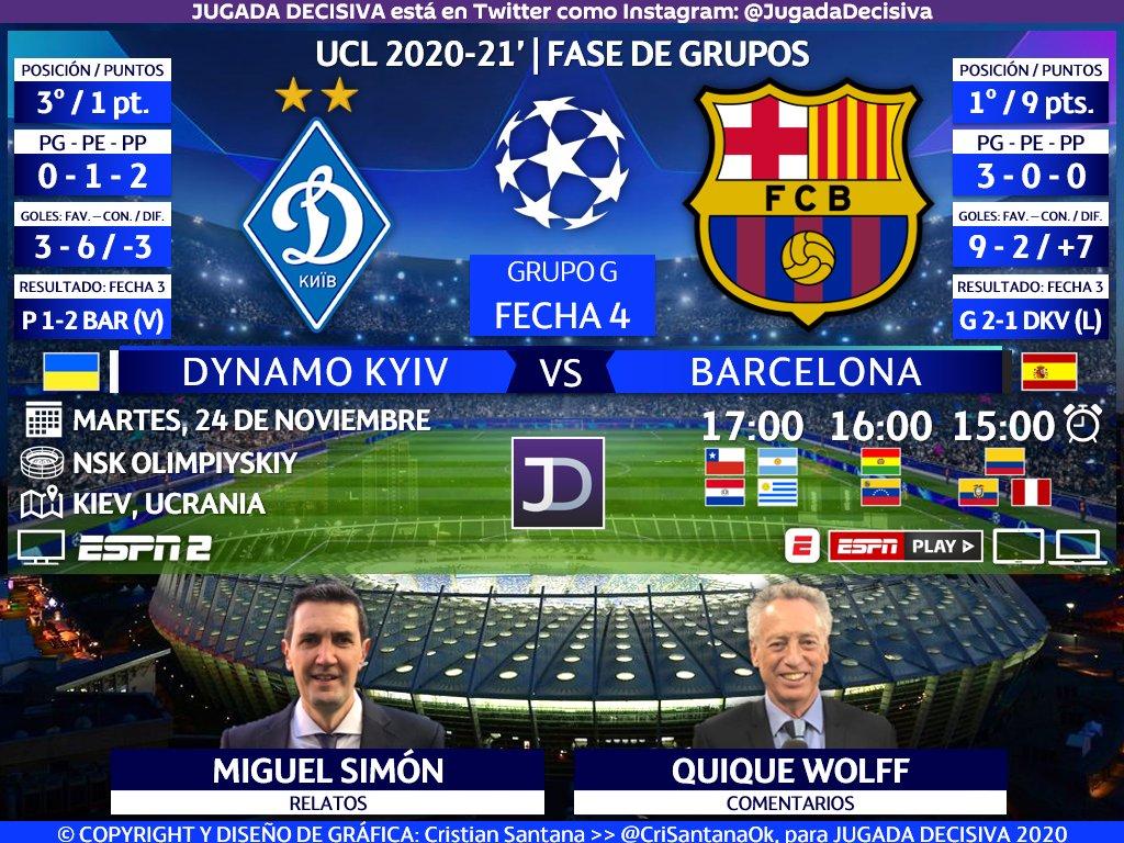 UEFA #ChampionsLeague ⚽   Fecha 4 - Grupo G Dynamo de Kiev (@DynamoKyiv) 🇺🇦 🆚 🇪🇦 FC Barcelona (@FCBarcelona_es)  🎙️Relatos: @migsim 🎙️Comentarios: @wolffquique  🤳🏻 #CHAMPIONSxESPN   #UCL - #ДинамоБарселона #DynamoBarça  🖥🌎 ESPN 2 - Sudamérica  🔃 y/o 💟 https://t.co/CJOhbZTTZZ
