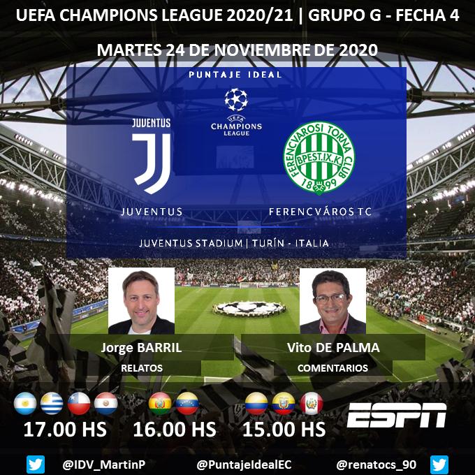 ⚽ #UCL   🇮🇹 #Juventus vs. #Ferencvaros 🇭🇺 🎙 Relatos: @Jorge_BarriL   🎙 Comentarios: @vitodepalma  📺 #ESPN Sudamérica 💻📱@ESPNPLAY 🤳 #CHAMPIONSxESPN - #JuveFerencvaros  Dale RT 🔃 https://t.co/JAofp1elrJ