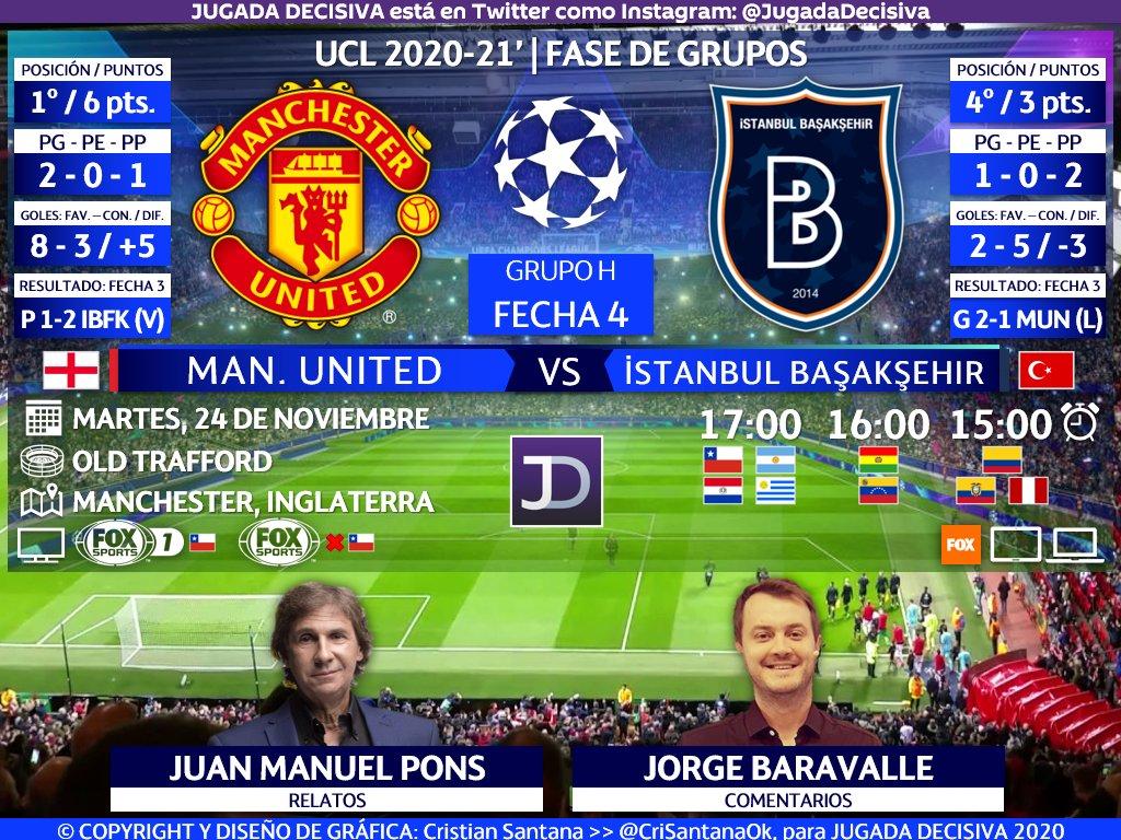 UEFA #ChampionsLeague ⚽   Fecha 4 - Grupo H Manchester United (@ManUtd_Es) 🏴 🆚 🇹🇷 İstanbul Başakşehir (@ibfk2014)  🎙️Relatos: Juan Manuel Pons 🎙️Comentarios: @jorgebaravalle  🤳🏻 #ChampionsxFOX   #UCL - #MUNIBFK  🖥🇨🇱 FOX Sports 1 🖥🌎 @FoxSportsArg - Sudamérica ❌🇨🇱  🔃 y/o 💟 https://t.co/l9OSKsIpQD