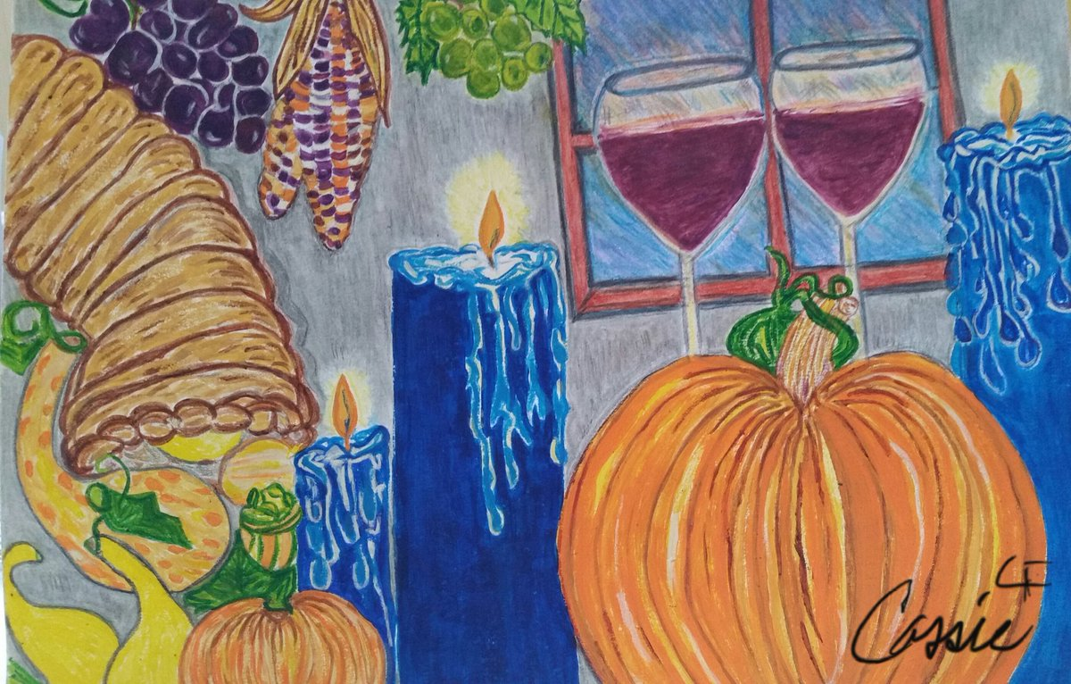 #CassieJFoxArt Happy Thanksgiving Week! #Family #Cozy #Thanksgiving2020 #Candles #Squash #Food #Laughter #Thankful