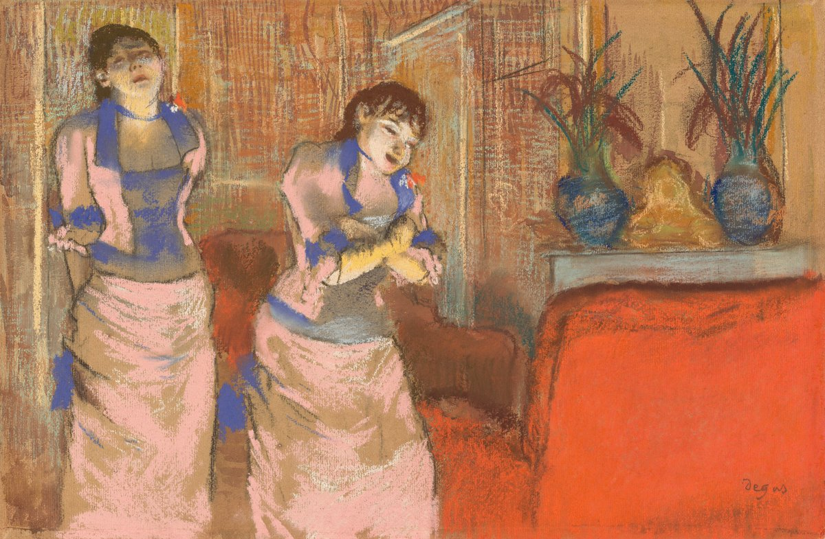 Are these two identically dressed women, or the same woman seen at different moments?👭🏽  Known for his keen instinct for experimentation, #EdgarDegas left questions such as these unanswered — adding to the intrigue of his work. Take a deeper dive 👉 https://t.co/9XfgR8Fs7K https://t.co/8HeHUsLA9K