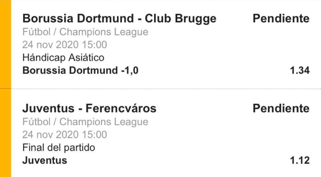 #UCL  ▶️ Cuota combinada 1.5 🔜 Borussia Dortmund -1 y Gana Juventus 👉🏻 Stake 2.5 ⌚️ 15:00 hora Colombia 🇨🇴   En telegram https://t.co/61vI4sDiKl 🥁  #ApuestasElClub #apuestasdeportivas https://t.co/26ZEQpa0Al