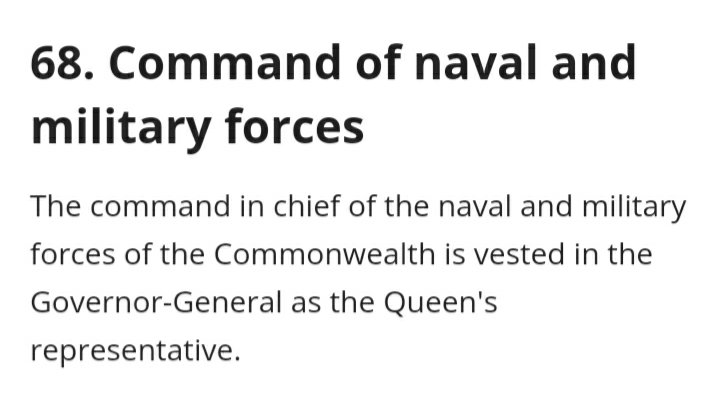I've been having a look at the Constitution & the Defence Act 1903 (as you do) & they make it clear that the people in charge of Defence are the Governor General & Minister for Defence. So why aren't these 2 appearing next to Angus Campbell each time he fronts the media? #auspol https://t.co/kHNZgVkzi2