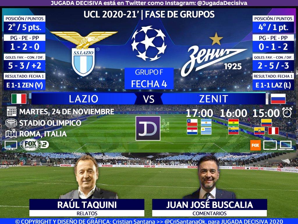 UEFA #ChampionsLeague ⚽   Fecha 4 - Grupo F Lazio (@OfficialSSLazio) 🇮🇹 🆚 🇷🇺 Zenit (@zenit_spb)  🎙️Relatos: @rulotaquini 🎙️Comentarios: @jbuscalia  🤳🏻 #ChampionsxFOX   #UCL - #LazioZenit #ЛациоЗенит  🖥🌎 @FoxSportsArg 2 - Sudamérica  🔃 y/o 💟 https://t.co/iuqC34OSah