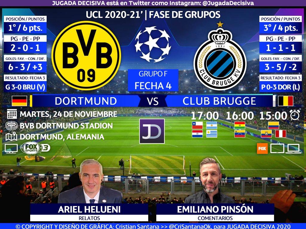 UEFA #ChampionsLeague ⚽   Fecha 4 - Grupo F Borussia Dortmund (@BVB) 🇩🇪 🆚 🇧🇪 Club Brugge (@ClubBrugge)  🎙️Relatos: @aruli75 🎙️Comentarios: @emipinsonok  🤳🏻 #ChampionsxFOX   #UCL - #BVBCLU  🖥🌎 @FoxSportsArg 3 - Sudamérica  🔃 y/o 💟 https://t.co/XQ9GaSh1tH