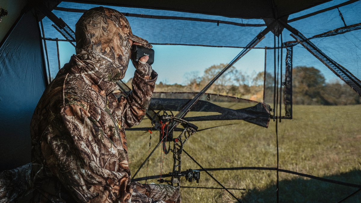 New blind from Rhino Blinds - the R180 Blind. 🦌  Shop now at Gander RV & Outdoors - in store only. How crazy is this blind? 😳  #Realtree #RealtreeEDGE #GanderRVandOutdoors #Rhino #Element #Bushnell #Mathews #Insights