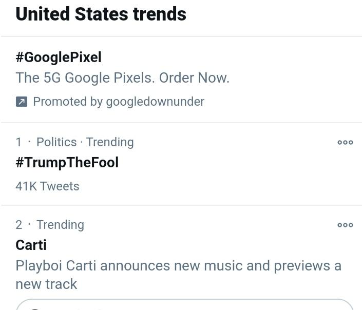 @realDonaldTrump #TrumpTheFool Trending at #1