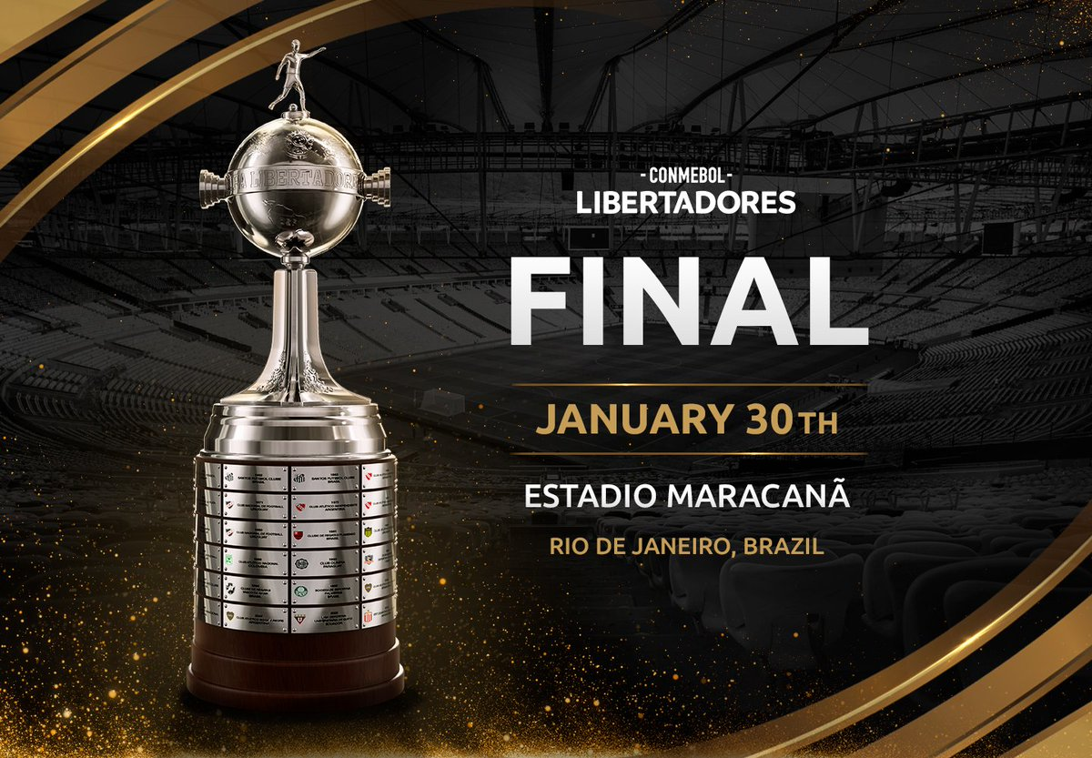 📅🏟 Confirmed! The #Libertadores Final will be held January 30th at the @maracana in Rio de Janeiro!  🏆 #GloriaEterna